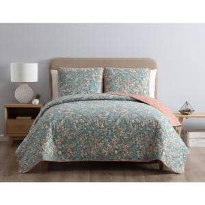 Gertrude Reversible Multicolored Floral Twin Quilt Set