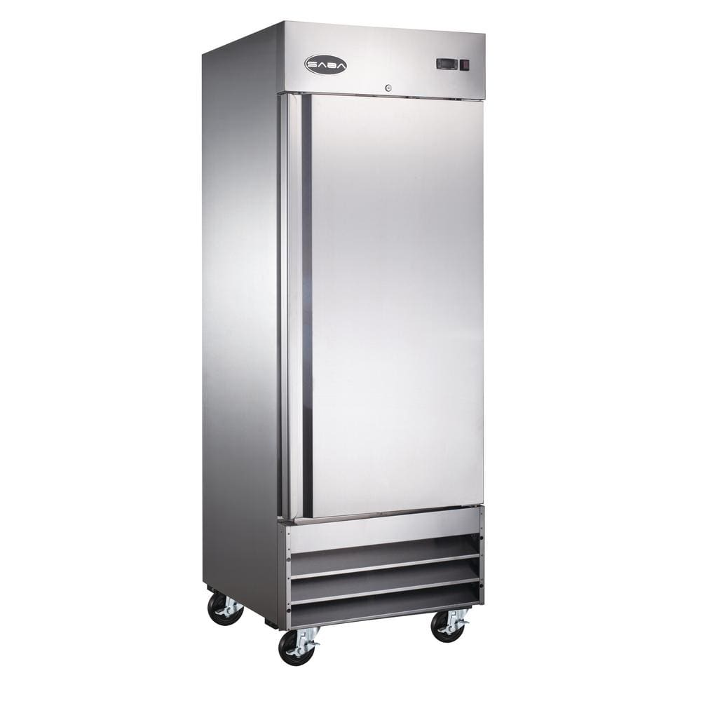 Saba 29 In W 23 Cu Ft One Door Commercial Reach In Upright Refrigerator In Stainless Steel S 23r The Home Depot