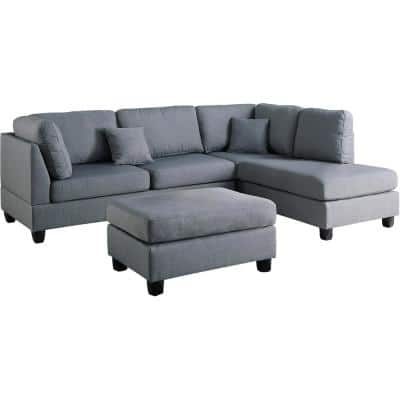 Madrid Gray Polyester 6-Seater L-Shaped Reversible Sectional Sofa with Ottoman