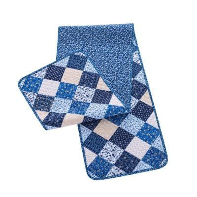 Olivia 14 in. W x 72 in. L Blue Quilted Microfiber Table Runner