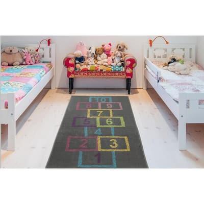 Children Garden's Collection Grey Background Hopscotch Street Chalk Design 3 ft. x 6 ft. Non-Slip Kids Runner Rug
