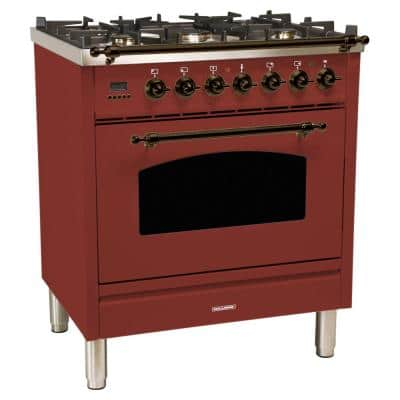30 in. 3.0 cu. ft. Single Oven Italian Gas Range with True Convection, 5 Burners, LP Gas, Bronze Trim in Burgundy