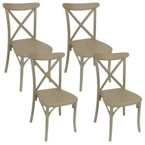 Bellemead Coffee Plastic Indoor Outdoor Patio Dining Chair (4-Pack)