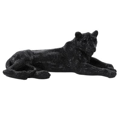Glam Black Lying Panther Table Decor and Display, 39''x14''