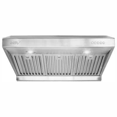 30 in. 750 CFM Under Cabinet Range Hood with Baffle Filters, LED Lights and Push Buttons in Stainless Steel