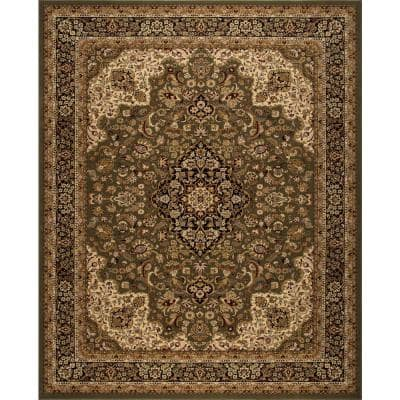 Silk Road Green 8 ft. x 10 ft. Medallion Area Rug