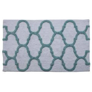 34 in. x 21 in. and 36 in. x 24 in. 2-Piece Bath Rug Set in White and Arctic Blue