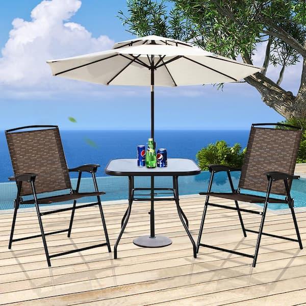 Costway 3 Piece Metal Round Outdoor, Outdoor Bistro Set With Umbrella