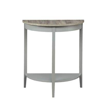 Justino 13 in. Gray Half Moon Wood Console Table with Storage