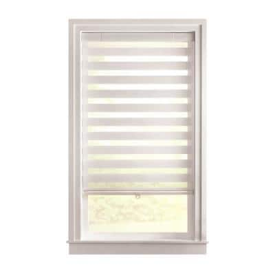 Cut-to-Size White Cordless Light Filtering Semi Sheer Roller Shades 33 in. W x 72 in. L