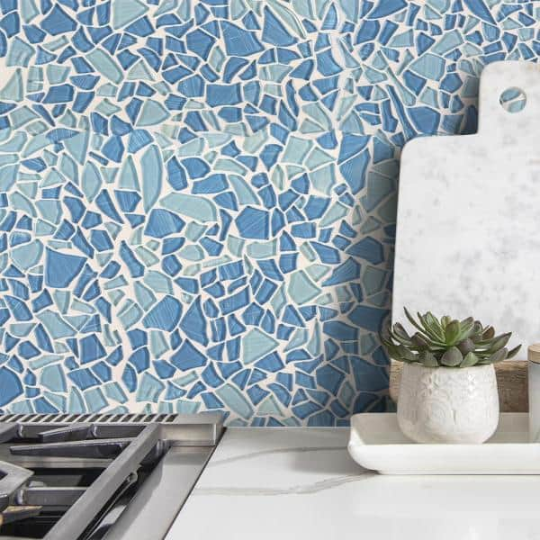 Glossy Glass Mosaic Tile, Sea Glass Mosaic Tile Bathroom
