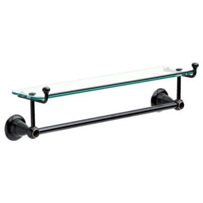 Porter 18 in. Towel Bar with Glass Shelf in Oil Rubbed Bronze