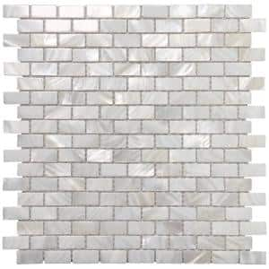 11.7 in. x 11.5 in. Mother of Pearl Backsplash Mosaic Subway Tile in Natural White (10-Pack)