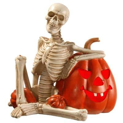 9 in. Lighted Skeleton and Pumpkin Halloween Decor