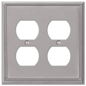Rhodes 2 Gang Duplex Metal Wall Plate - Brushed Nickel