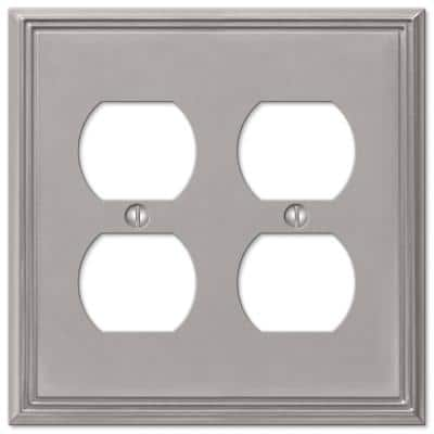 Rhodes 2 Gang Duplex Metal Wall Plate - Brushed Nickel