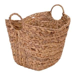 14 in. D x 16 in. W x 17 in. H Water Hyacinth Basket with Handles in Natural