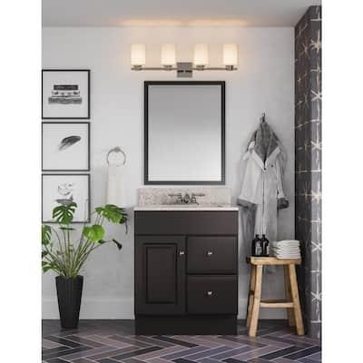 Saratoga 4 in. Centerset 2-Handle Bathroom Faucet in Satin Nickel