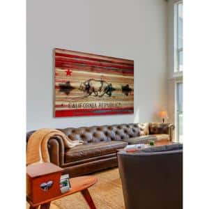 40 in. H x 60 in. W ''Cal Repub'' by Parvez Taj Printed Natural Pine Wood Wall Art