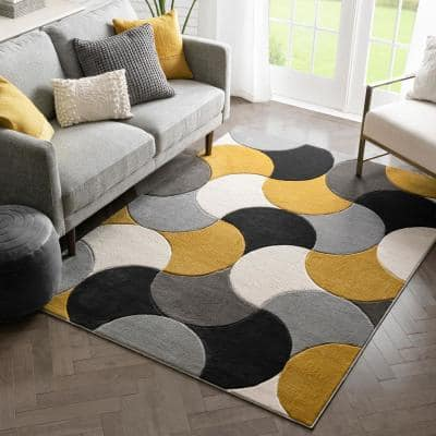 Pad Attached Well Woven Area Rugs, Gray And Yellow Rugs For Living Room