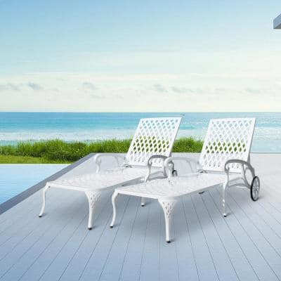 2-Piece White Cast Aluminum Reclining Outdoor Chaise Lounge with Wheels