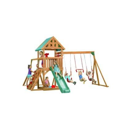 Mountain View Playset with Tarp Roof, Red Accessories and Green Slide
