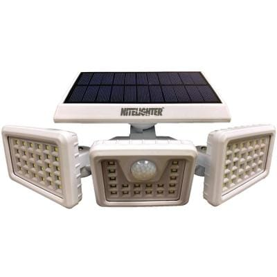 White Solar Powered Motion Activated Outdoor LED Area Spotlight with Daylight Sensor and 3 Adjustable Lamps