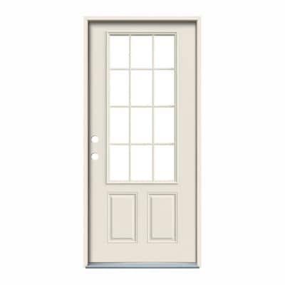 32 in. x 80 in. 12 Lite Primed Steel Prehung Right-Hand Inswing Back Door