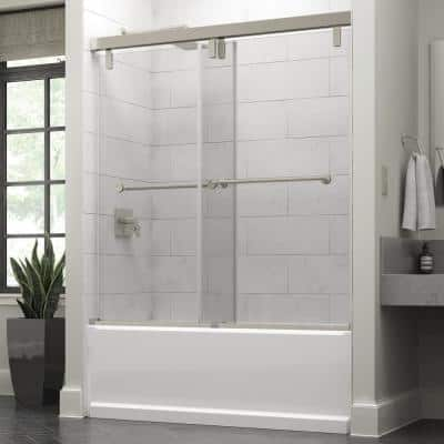Everly 60 in. x 59-1/4 in. Mod Semi-Frameless Sliding Bathtub Door in Nickel and 3/8 in. (10mm) Clear Glass