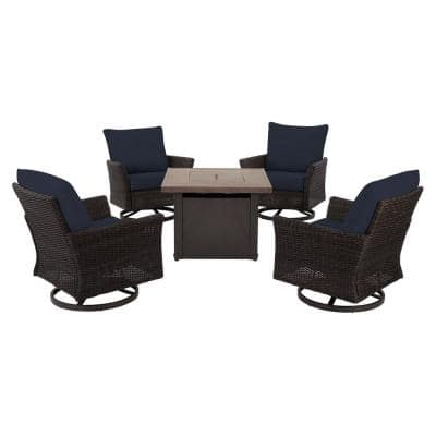 Lakeline 5-Piece Brown Metal Outdoor Patio Fire Pit Swivel Seating Set with CushionGuard Midnight Navy Blue Cushions