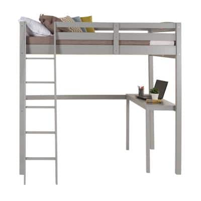 Tribeca Grey Twin Size High Loft Bed with Desk