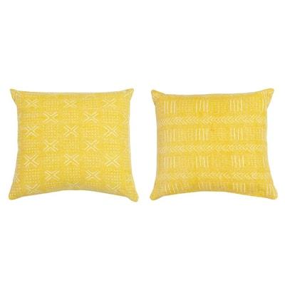 Max 22 x 22 Lemon Curry Reversible Woven Throw Pillow