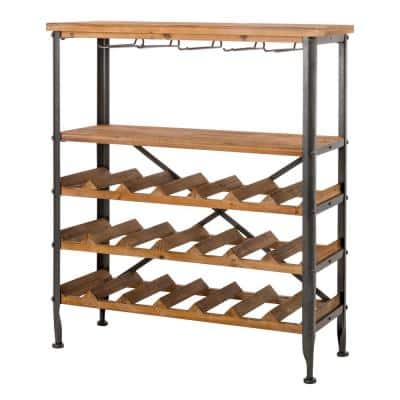 34.25 in. H Vintage Floor Wine Bottle and Glass Rack