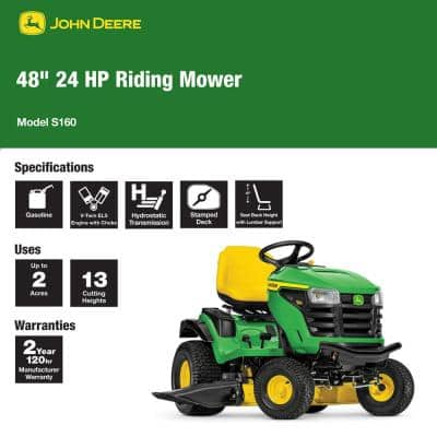 S160 48 in. 24 HP V-Twin ELS Gas Hydrostatic Lawn Tractor