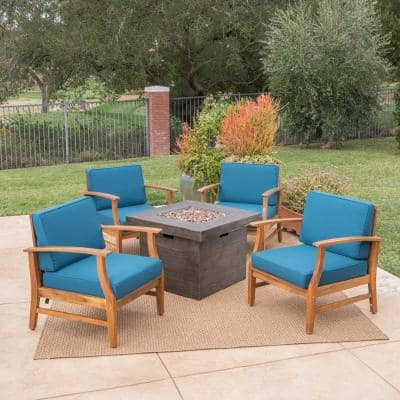 Kourtney Teak Brown 5-Piece Wood Patio Fire Pit Seating Set with Blue Cushions