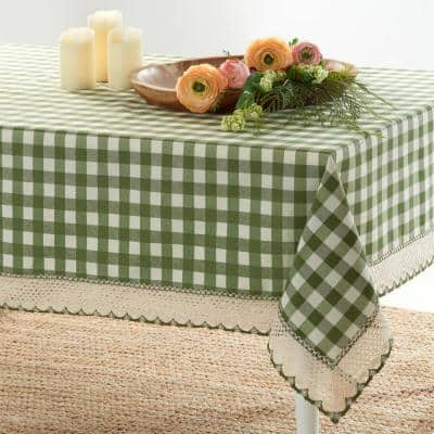 Buffalo Check 60 in. W x 120 in. L Sage Checkered Polyester/Cotton Rectangular Tablecloth