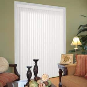 Crown White Room Darkening 3.5 in. Vertical Blind Kit for Sliding Door or Window - 66 in. W x 84 in. L