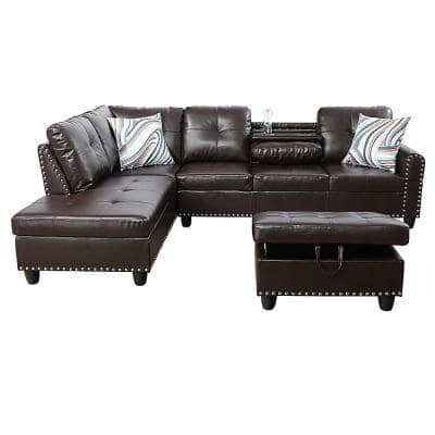 Star Home Living-3-Piece-Brown-Faux Leather-6 Seats-L-Shaped-Left Facing-Sectionals