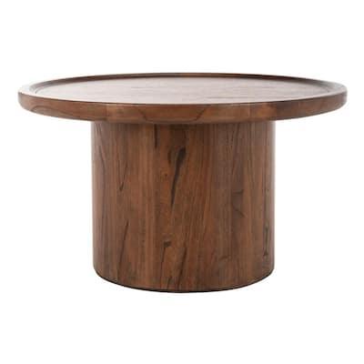 Devin 28 in. Dark Brown Medium Round Wood Coffee Table with Pedestal Base