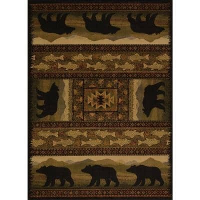 Affinity Black Bears Lodge 7 ft. 10 in. x 10 ft. 6 in. Area Rug