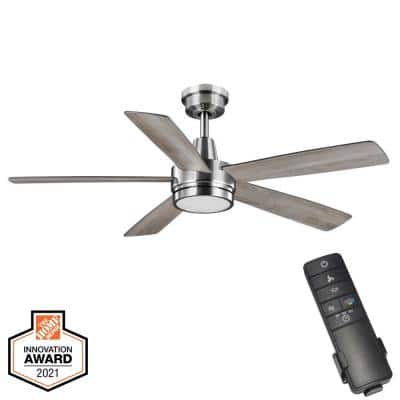 Fanelee 54 in. White Color Changing Integrated LED Brushed Nickel Smart Hubspace Ceiling Fan with Light Kit and Remote