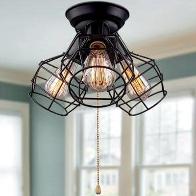 Creative 3-Light Modern Industrial Cage Black Semi-Flush Mount with Pull String Convertible to Wall Mount
