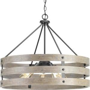 Gulliver 5-Light Graphite Drum Pendant with Weathered Gray Wood Accents