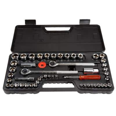SAE and Metric Socket Set with Carry Case (52-Piece)