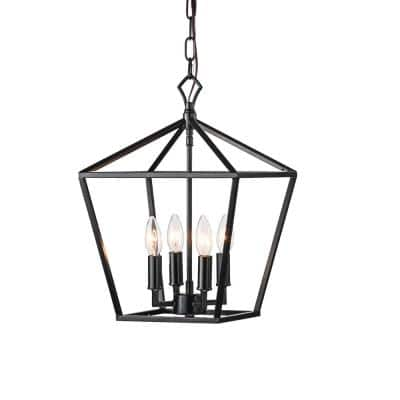 Renzo 4-Light Matte Black Caged Pendant with Brushed Nickle or Black Candle Sleeves