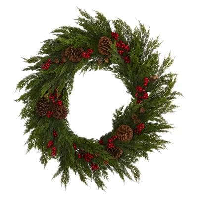 32 in. Cypress with Berries and Pine Cones Artificial Wreath