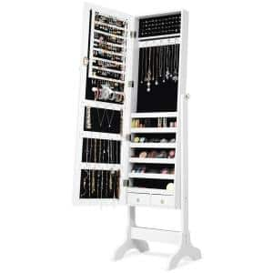 White MDF Glass Jewelry Cabinet Storage Organizer