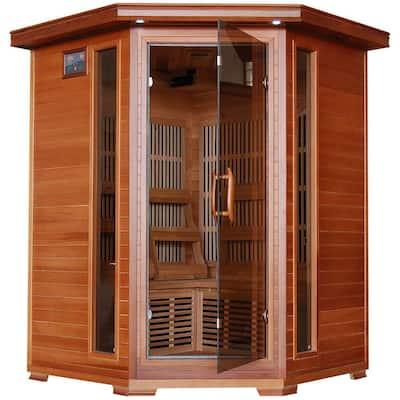 3-Person Cedar Corner Infrared Sauna with 7 Carbon Heaters