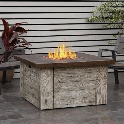 Forest Ridge 42 in. Fiber-Cast Concrete Propane Fire Pit Table in Weathered Gray with Natural Gas Conversion Kit
