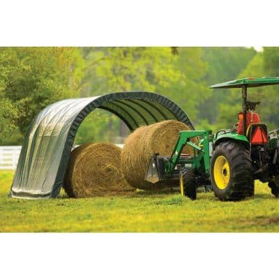 12 ft. W x 20 ft. D x 8 ft. H Equine High-Grade Steel Run-in Shed with Waterproof Cover and Easy-Slide Rail System